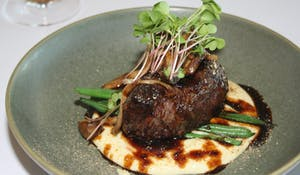 Esca Bimbadgen Chargrilled Beef Eye Fillet - cauliflower puree, green beans, sautéed mushrooms, jus, porcini mushroom salt