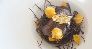 Smoked Chocolate Mousse - Cognac brownie soil, orange gel, freeze dried mandarin
